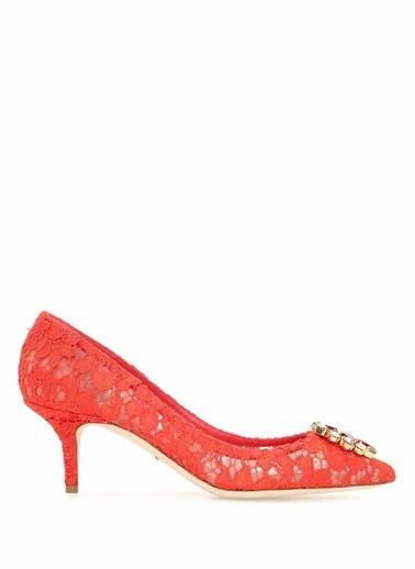 Dolce&Gabbana Kısa Topuklu Dantel Ayakkabı Kırmızı